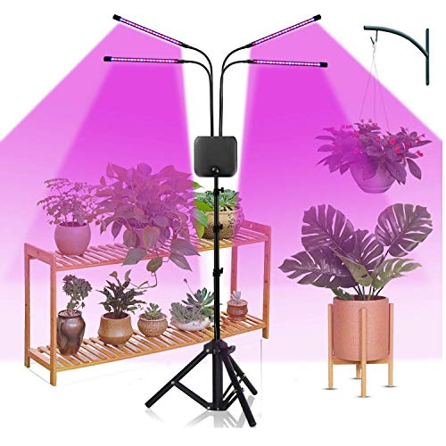 Grow Light with Stand,Juhefa Super Bright 120LED Full Spectrum Four-Head Floor Plant Light for Tall & Small Plants,Timing Function 3/9/12H,Tripod Adjustable 15-60 inch