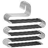 Grizef Pack de 5 perchas multicapa para pantalones, ahorro de espacio, tipo S, perchas para armario de vaqueros, pantalones, toallas, bufandas, corbatas (negro)