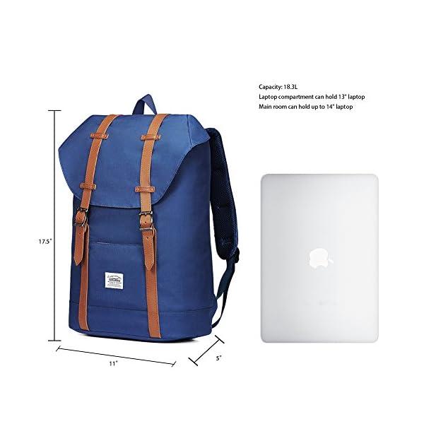 "51IW2sr4eOL. SS600  - KAUKKO Mochila Casual Mochila de Estudiante Ligero 16"" Laptop Bolsa al Aire Libre para Viajar/Deporte/Cámping (Azul)"