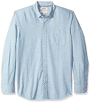 Amazon Brand - Goodthreads Men's Standard-Fit Long-Sleeve Chambray Shirt, Light Blue/White, Medium