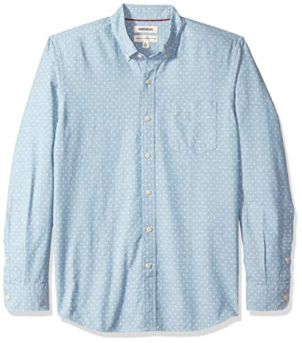 Marca Amazon - Goodthreads – Camisa de manga larga de corte estándar de cambray para hombre, diseño de lunares