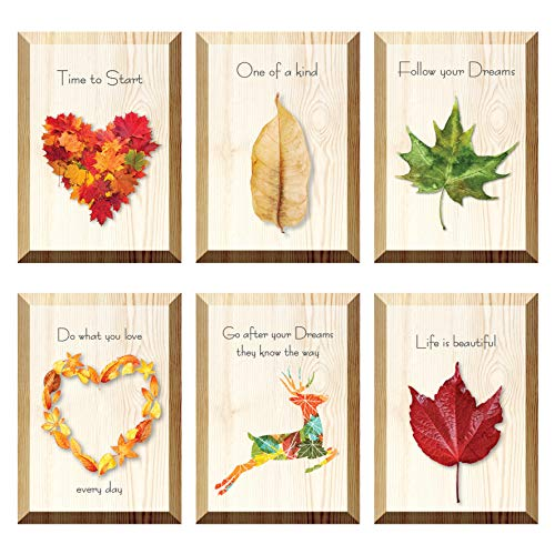 The Nisha Inspirational WallArt Pictures Art Magic 3D Vinyl Removable Wooden Wall Sticker Decals DIY, Set of 6, Do What You Love Every Day 100-UK