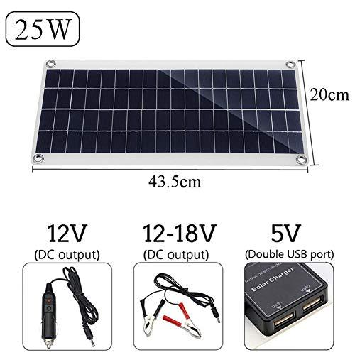 12V 25W Solarmodul Tragbares Solarpanel Flexible Solarzellen| Handy Das Solarplatine Auflädt System Mit Auto Ladegerät| Dual USB+ 30/50/100A Solar Ladegerät