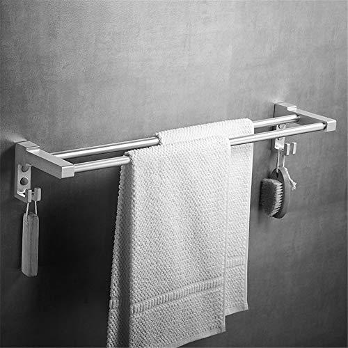 LLDD Handdoekhouder, zonder boormachine, aluminium, voor bevestiging aan de muur, 2-polig, handdoekhouder, badkamer, keuken, handdoekhouder, met roestbescherming, eenvoudig aan te brengen