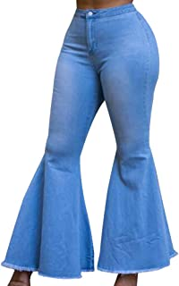 Women's High Waist Bootcut Flared Jeans Bell Bottom Flared Jeans Plus Size