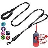 tobeDRI Heavy Duty Dog Leash - 2 Padded Handles, 6 feet Long - Dog Training Walking Leashes for Medium Large Dogs (Rope Leash-Black)