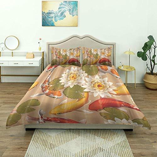 Nonun Duvet Cover,Fish Koi Carps and Lotus, Bedding Set Comfy Lightweight Microfiber