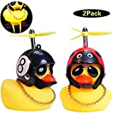 wonuu Rubber Duck Car Ornaments, 2Pcs Yellow Duck Car Dashboard Decorations Squeeze Duck Bicycle Horns with Propeller Helmet for Adults, Kids, Women, Men
