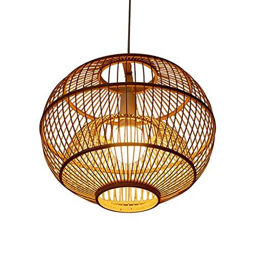 Pointhx Lámpara de techo japonesa de bambú de arte E27 1-Luz de bambú tejiendo decoración vintage lámpara colgante escalera cafetería cocina isla iluminación