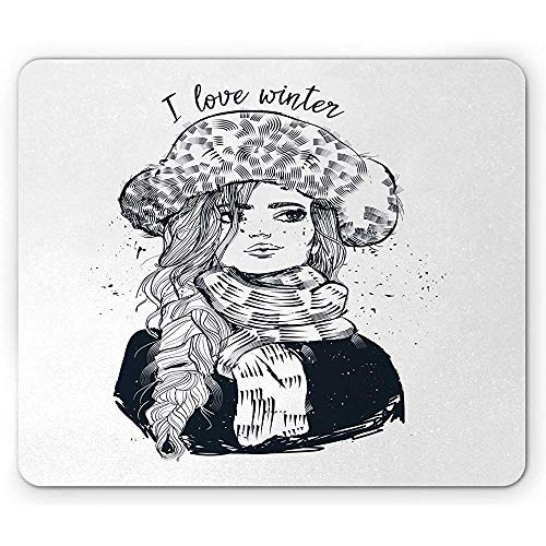Ich Liebe Winter-Mausunterlage,Flüchtiges Design Eines Frauen-Porträts In Der Winterkleidung Und Im Langen Haar,Rutschfestes Gummi-Mousepad des Rechtecks