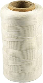BALABALA 284yd 150D 1mm Sewing Waxed Thread Hand Stitching Cord for Leather Craft DIY (White)