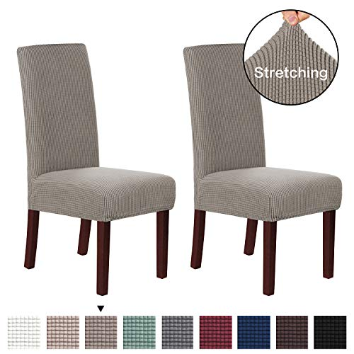 H.VERSAILTEX Super Fit Soft Spandex High Back Dining Chair Covers (Set of 2) Rich Textured Lycra Small Checks Knitted Jacquard Dining Room Chair Seat Slipcover/Protector/Shield, Taupe