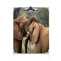 クリップボード サファリの装飾 プレゼントA4 バインダー 2つの野生のサバンナ象レスリングかわいい自然アイコン南アフリカの動物ゲーム写真 用箋挟 クロス貼 A4 短辺とじブラウングリーン