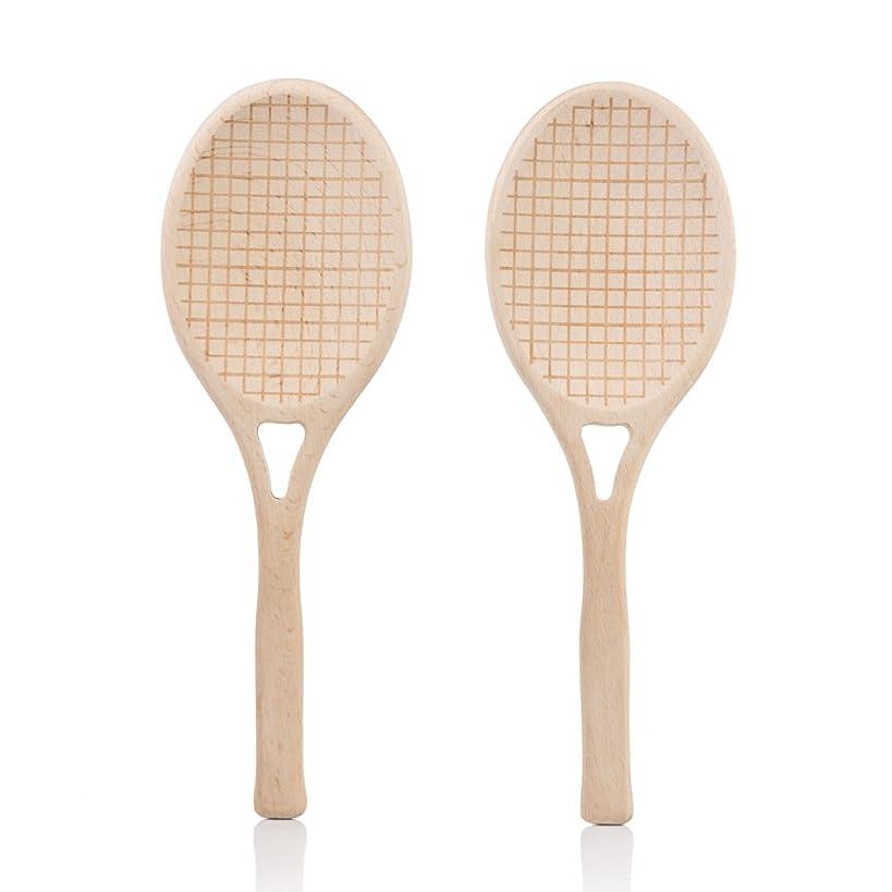SUCK UK SK SALADTEN1 Salad Servers | Novelty KITCHENWARE | Wooden Spoons | Tennis Racket Shaped|, 9.84 x 0.39 x 3.35 in in,