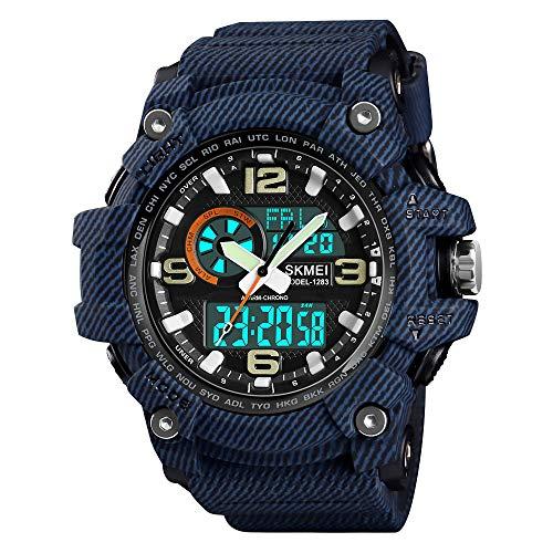 SKMEI Digitale Sportuhr für Herren, Militär, wasserdicht, LED-Bildschirm, großes Zifferblatt, Stoppuhr, Alarm 2.17*2.12*0.71 inch 1-Denim Blue
