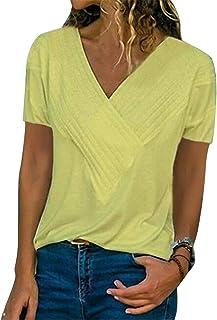 FRPE Women's Plus Size Casual Slim Fit V-Neck Short Sleeve Cotton Top T-Shirt Blouse