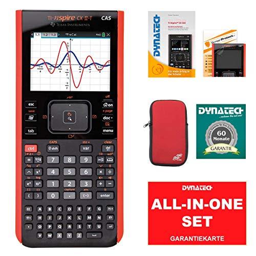 TI-Nspire CX II-T - Taschenrechner CAS Grafikrechner SET Schulrechner Schule Uni + CalcCase Schutztasche Hülle Softy Rot + Garantieverlängerung + Das Buch zum Rechner