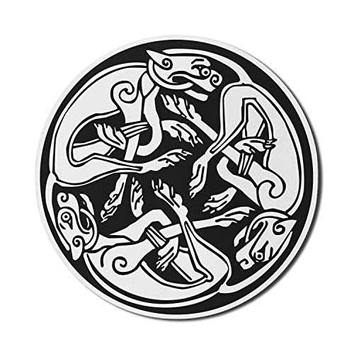 Lunarable Celtic Mouse Pad for Computers, 3 Dogs Biting Their Tails Animal Forms Vikings Heritage Celtic Knots Medallion, Round Non-Slip Thick Rubber Modern Gaming Mousepad, 8' Round, Black White