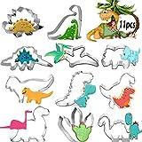 JIASHA Forme Biscotti Dinosauri, Tagliabiscotti Forme Stampini Cookie Cutter Acciaio Inox per Bambini Compleanno Festa Tema Decorazioni Fai da Te Cottura(11 Pezzi)