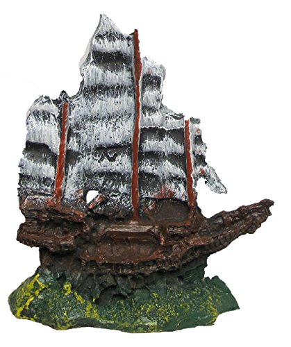 Nicepts Barco velero hundido para decoración de acuarios.