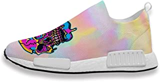 Mens Womans Trainers Skull Logo Printing Athletic Running Shoes Mesh Breathable for Gym Sport Walking Jogging
