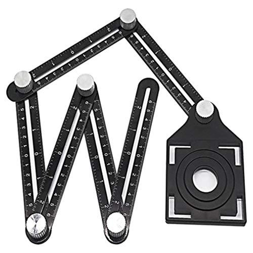 LONGWDS Bit de broca Aleación de aluminio de seis Regla plegable del azulejo agujero localizador de mampostería pavimentación azulejos de cristal universal perforada producto útil Herramientas de carp