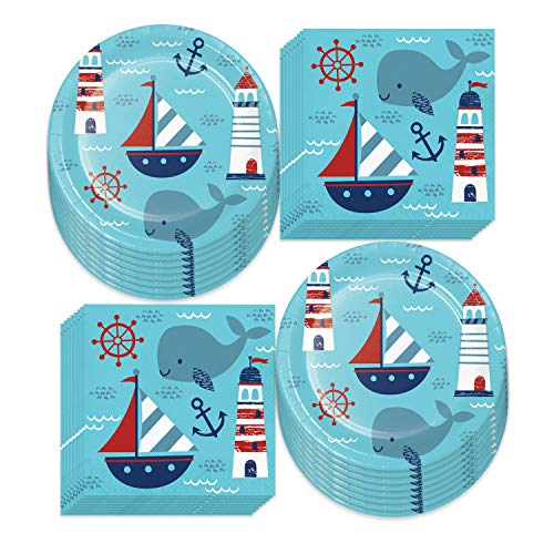 Nautical Party Supplies - Sailing Anchor Paper Dinner Plates and Luncehon Napkins (Serves 16)