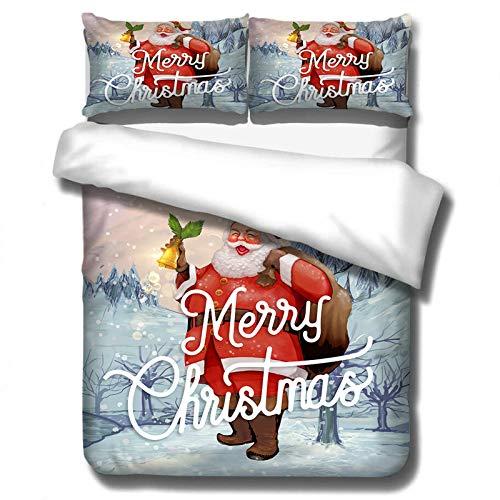 DWSM - Juego de sábanas de funda nórdica muy suave con motivos navideños, 2/3 piezas, incluye 1 funda de edredón, 1/2 fundas de almohada, un regalo de Navidad (6,135 x 200 cm)