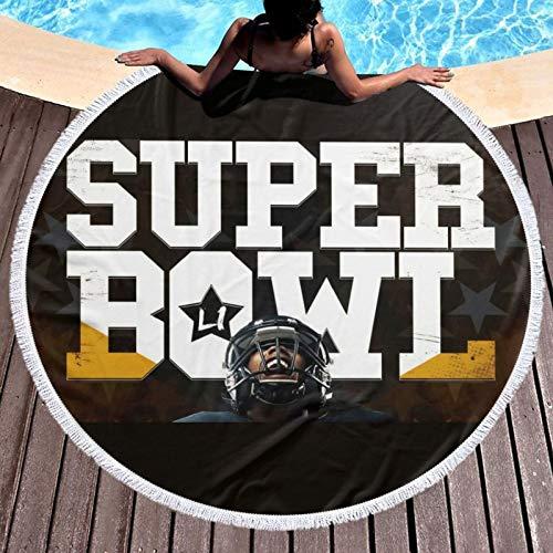 Super Bowl NFL - Toalla de playa de fibra superfina para verano, para mujeres, niños, hombre, impermeable, deportes, viajes, natación, gimnasio, yoga, crucero y camping, diámetro redondo de 132 cm