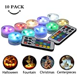 10 Pack Small Submersible LED Lights with Remote, Battery Operated Color Changing LED Tealight Waterproof Underwater LED...