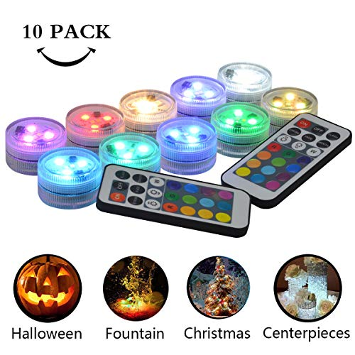 Idubai 10 Pack Small Submersible LED Lights with Remote, Battery Operated Color Changing LED Tealight Waterproof Underwater LED Lights for Pool Fountain Pond Vase Party Wedding Centerpieces Decoration