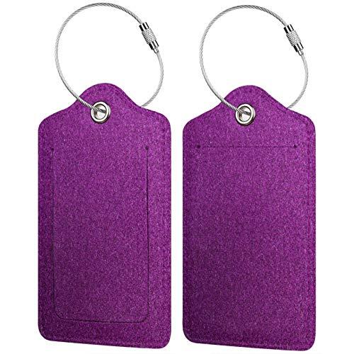 FULIYA - Juego de 2 etiquetas de cuero para maletas, identificador de viaje para bolsos y equipaje, para hombre y mujer, superficie, textura, morado, Grungy