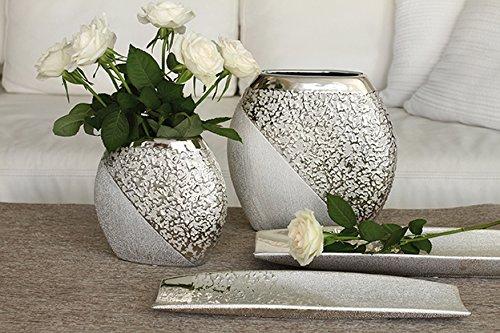 Keramik runde Vase Grace 1 Stück L 7 x B 19 x H 18 cm Champagner-Silber