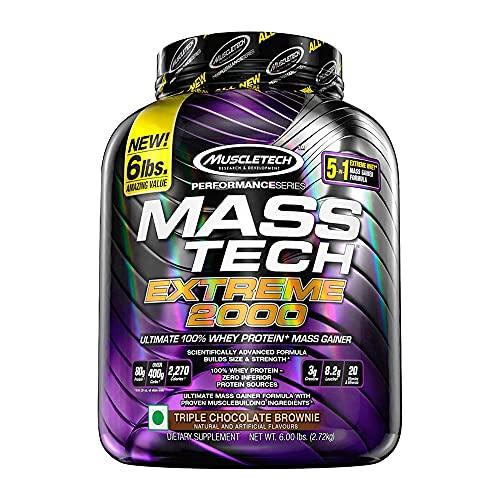 Muscletech Performance Series Mass Tech Extreme 2000 (3g Creatine, 8.2g Leucine, 20 Vitamins & Minerals) - 6lbs (2.72kg) (Triple Chocolate Brownie)
