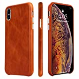 TOOVREN iPhone X Case, iPhone Xs/10 Case Genuine Leather Cover Case Protective Ultra Thin Anti-Slip Vintage Shell Hard Back Cover for Apple iPhone X/Xs 5.8'' (2018) Brown