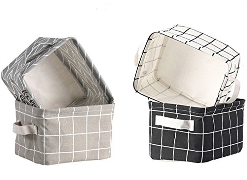 Lannu Canvas Storage Bins Basket Fabric Cloth Linen Blend Baskets Organizers Classical Color for Nursery Baby Toy, Makeup, Book, Home Decor,Small,Set of 4