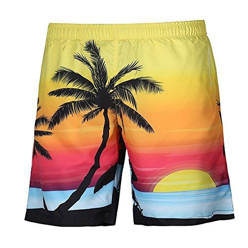Herren Shorts, Kanpola Sommer Casual Hawaii 3D Gedruckt Strand Kurze Hosen Boxershorts Retroshorts Badehose Badeshorts Fitnesshose Sporthose Sport Yoga Unterhose (D901-Gelb, 32)
