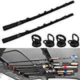 Hysagtek 6 Pcs Vehicle Fishing Rod Rack Kits, Including 2 Pack Car Fishing Rod Holder and 4 Pack Powerful Suction Cups, Adjustable Strap Fishing Pole Holder Carrier Storage Rack for SUVs, Wagons, Vans