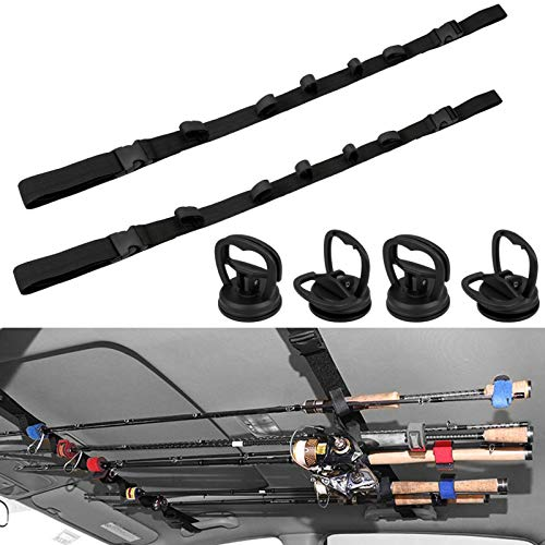 Hysagtek 6 Pcs Vehicle Fishing Rod Rack Kits, Including 2 Pack Car Fishing Rod Holder and 4 Pack Powerful Suction Cups, Adjustable Strap Fishing Pole Holder Carrier Storage Rack for SUVs Wagons Vans