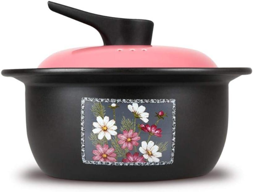 JPZCDK Céramique Casserole ragoût Pot Taille Casserole Bouillie Pot Soupe de Riz Haute température Ménage feu Vapeur, 3 L avec céramique s 3 L With Ceramic S