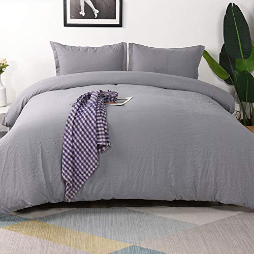 Vailge 3-Piece Duvet Cover Set King Size, 100% Washed Microfiber Bedding Sets,Ultra Soft and Breathable Comforter Cover with Zipper Closure & Corner Ties (Not Include Comforter) (King, Grey)