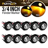 Partsam 10x 3/4' Clear Lens Amber Yellow Round Led Lights Trailer Marker High Low Brightness 3SMD, 3/4' Led Trailer Clearance, side Marker Lights, turn signal and running lamp