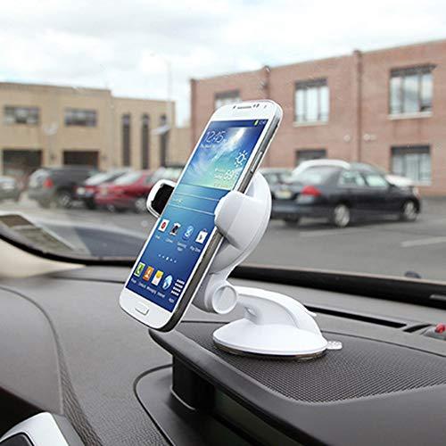 Soporte Movil para Coche con Ventosa, Soporte Télefono Coche para Parabrisas/Salpicadero/Giro 360 Grados Universal para iPhone X 8/8 Plus, GPS y Otros Movíles,Blanco