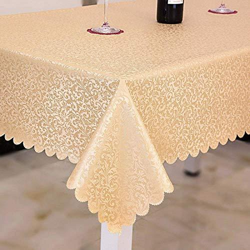 ZXCN Manteles Mesa Rectangular Impermeable PU Modern decoración de Mesa para Cocina y Comedor Golden 140×220cm