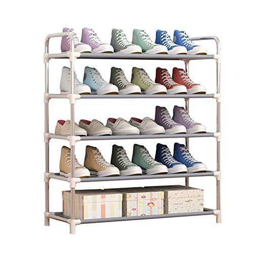LSSB 5 Niveles Mueble Zapatero, Capa No Tejida Estantes De Almacenamiento De Metal Organizador De Zapatos para Pasillo Cuarto, Sala (Color : Gray)