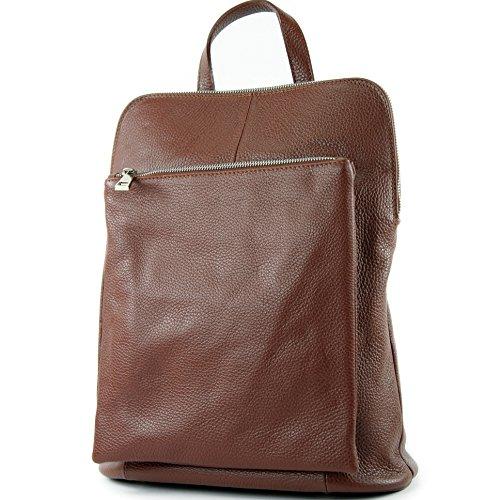 modamoda de - T141 - ital Damen Rucksacktasche 3in1 aus Leder, Farbe:Braun