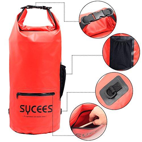 SYCEES Bolsas estancas impermeable 15L Rojo con un bolsillo de cremallera impermeable y un bolsillo lateral de mallas y cinta doble adjustable para movil, ropa, llave para la playa, viaje, nadar, deportes acuáticos