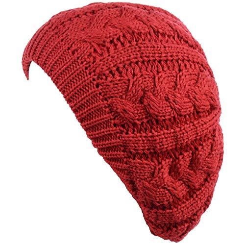 BYOS Women's Winter Fleece Lined Urban Boho Slouchy Cable Knit Beret Beanie Hat