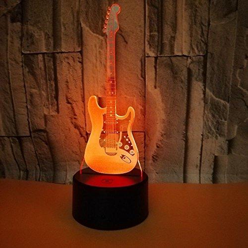 3D Ilusión óptica Lámpara LED Guitarra electrica Luz de noche Deco Lámpara 7 colores de Control Remoto con Acrílico Plano & ABS Base & Cargador USB