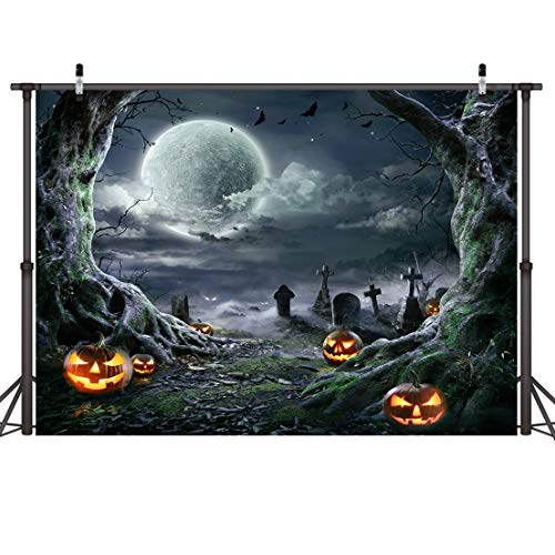 LYWYGG 7x5FT Fondo de Fotografía de Halloween Fondo de Terror de Noche de Halloween Fondo de Fotografía de Linterna de Calabaza Fondo de Fotografía de Fiesta de Halloween CP-273